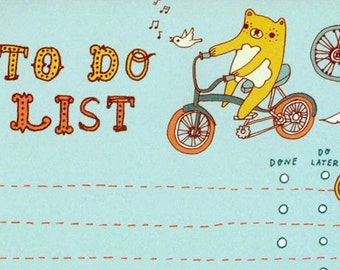 BEAR to do list notepad by boygirlparty, bike bird list note pad organizer