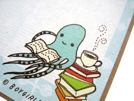 BLUE OCTOPUS BOOK STICKER SET, set of 6 labels for books library reading bookplates