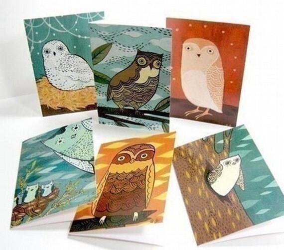 OWL NOTE CARDS, set of 6, by boygirlparty, original bird owl illustrations
