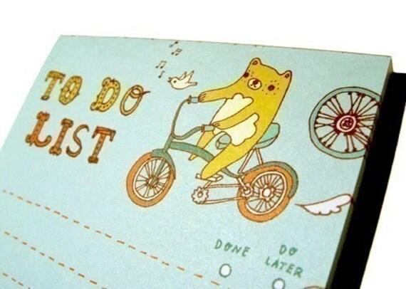 BEAR TO DO LIST notepad by boygirlparty, bicycle honeybear bike bird note pad checklist