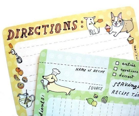 """Dog Recipe Cards (4x6"""" recipe cards) printed cute recipe card set"""