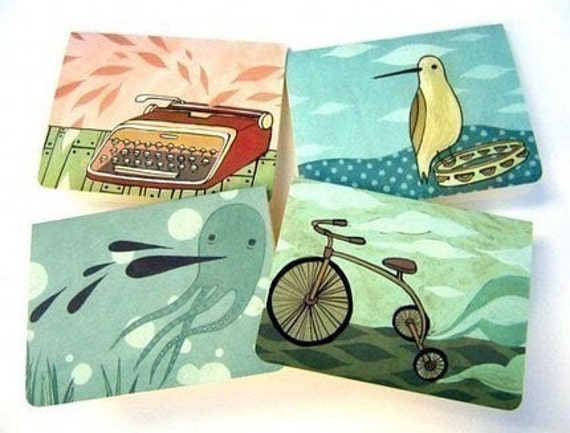 Blank Cards Notecard Set - Retro Artwork by boygirlparty - Blank Greeting Card Assortment Everyday Notecards