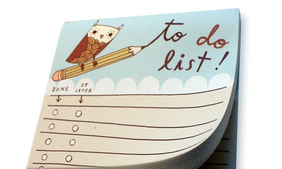 Owl TO DO LIST notepad office organizer list pad to-do list pad - recycled paper notepad