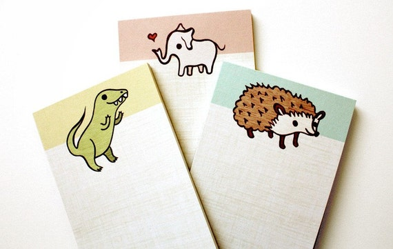 ANIMAL NOTEPAD SET by boygirlparty, set of 3 kawaii note pads, hedgehog elephant t-rex dinosaur