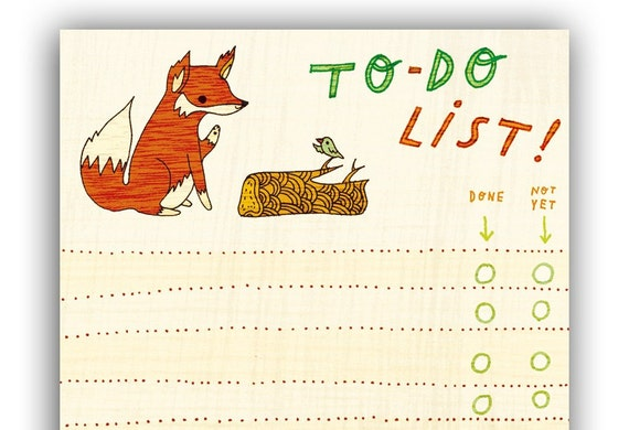 Fox/Bird TO DO LIST notepad by boygirlparty, red fox list note pad - animal stationery office gift