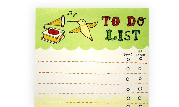 Hummingbird TO DO LIST note pad by boygirlparty - lime green bird list memo notepad - gift for office/coworker/mom