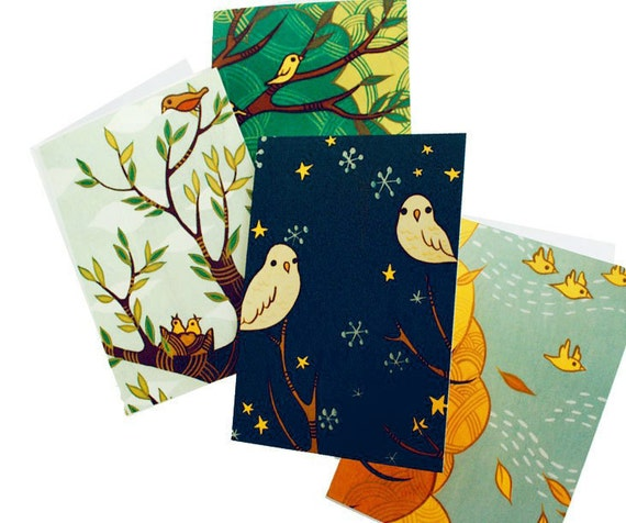 FOUR SEASONS cards, four seasons art notecards seasonal cards, all occasion cards, susie ghahremani boygirlparty blank notecards small cards