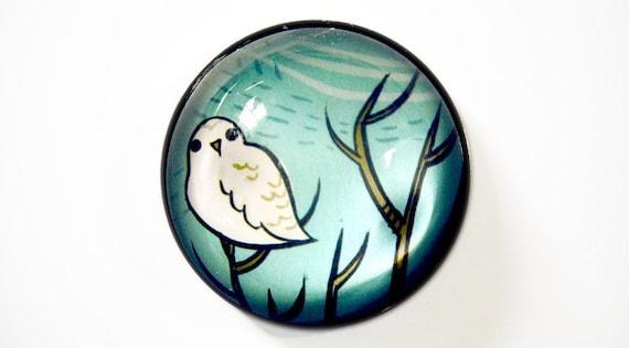 Housewarming Gift - White Owl Magnet - Glass Fridge Magnet - New Home Housewarming Gift