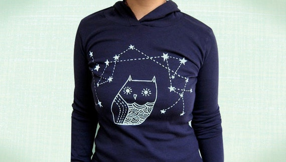 OWL HOODIE women hoodies owl shirt long sleeve navy blue - ladies clothing owl constellation