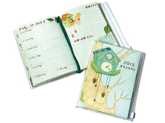 2012 Planner AGENDA by susie ghahremani / boygirlparty, pocket calendar notebook schedule - owl clockwork agenda
