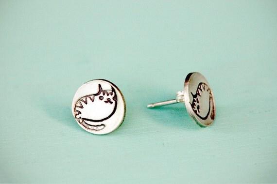 Tiny CAT EARRINGS by boygirlparty - silver cat stud earrings post earing animal earring
