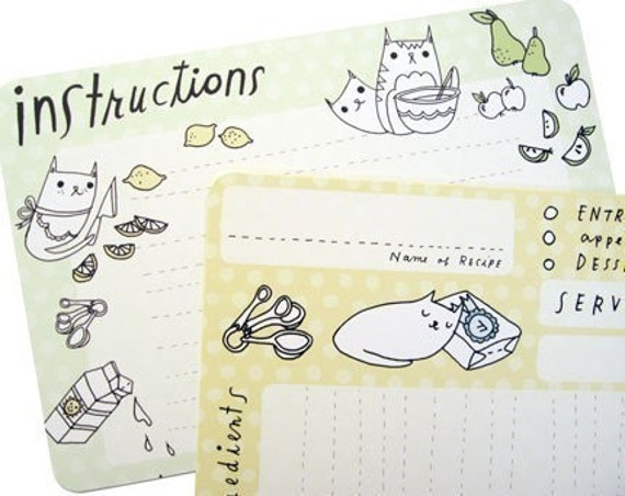 KITTY CAT RECIPE CARDS set of ten, with shopping list by boygirlparty, original art illustrations kitchen cooking baking