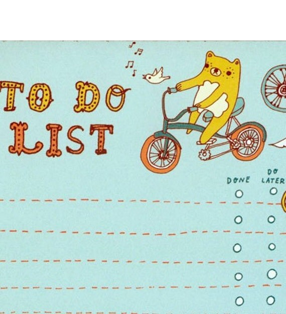 BEAR to do list notepad by boygirlparty, bike bird list note pad organizer