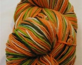 Handpainted Merino Sock Yarn 440 yds includes shipping Cantaloupe STRIPE