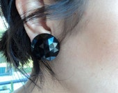 Black Faceted Clip On Earrings - Vintage