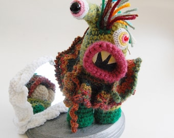 Commando Kate Crocheted Monster Sculpture OOAK Collectible Art