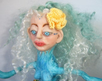 OOAK Clay and Crochet Art Doll Lady of the Sea