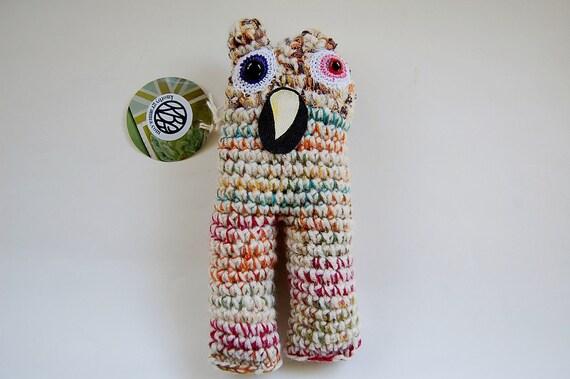 SALE Snaggleberry Monster OOAK Crocheted Art Doll Soft Sculpture