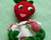 Strawberry Boy Embroidered Face Doll