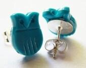 Little Teal Owls - Stud Earrings
