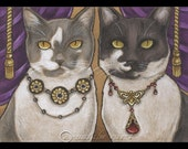 Bejeweled Cats 8 Signed Art Print - You Choose - 2.5x3.5, 5x7 or 8x10 Inch
