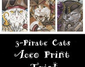 3-Pack ACEO Kitties-Pirate Cats