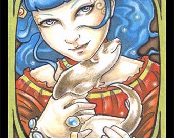 Aqua Nouveau Queen & Ferret Art Print-Sizes-2.5x3.5, 5x7 or 8x10 In., Fantasy Animal Art Brown Mask Sable Pet Art Nouveau Natalie Ewert