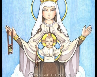 Our Lady of Mount Carmel Art Print -You Choose - 2.5x3.5, 5x7 or 8x10 Inch