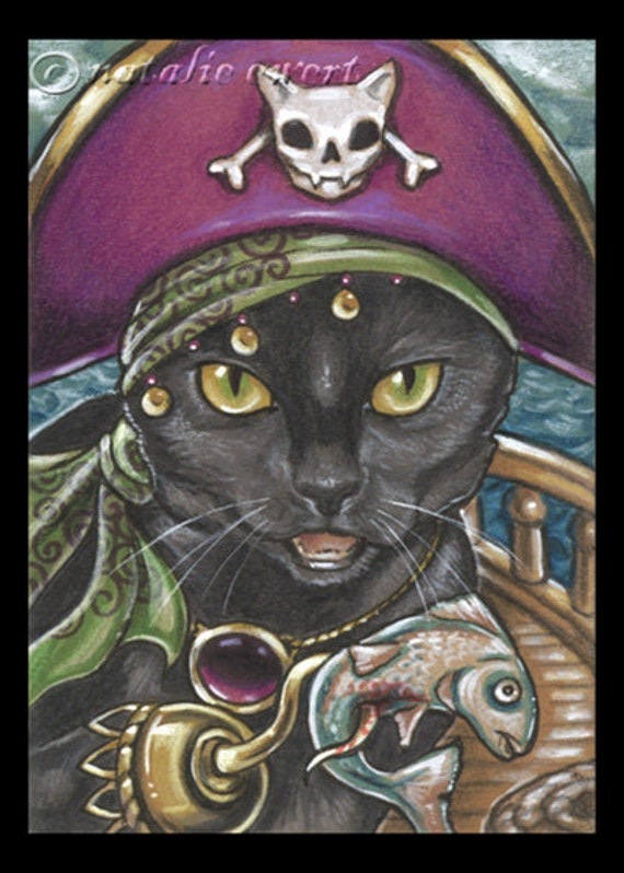 Pirate Cat 2 Signed Art Print -You Choose - 2.5x3.5, 5x7 or 8x10 in., Anthro Black Cat Fish Ren Fair Gold Eye Ship Hat Hook Dishythicket