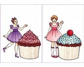 SALE Tiny Girls, Gigantic Cupcakes, Two Small Cards