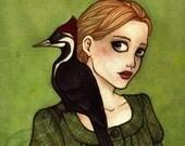 Lord God Bird Ivory Billed Woodpecker Watercolor Art Print