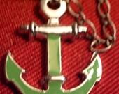Anchors away green anchor earrings
