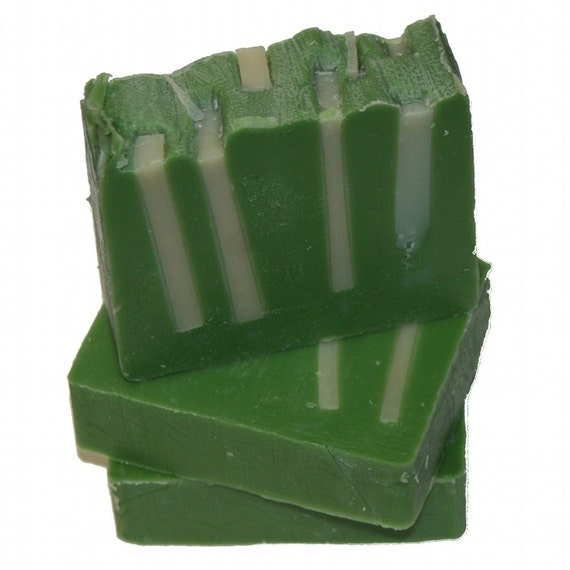 On Sale for Black Fri - Grass Monkey Band Shea Butter Soap - Decorative Unisex Green and Cream Cold Process Soap Bar