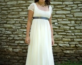 SAMPLE SALE 50% OFF - Jane - Wedding Dress - Eco Friendly Long Regency Gown with Cap Sleeves and Empire Waist