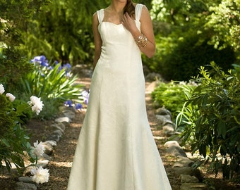 SAMPLE SALE 50% OFF - Hailey - Eco Friendly Sweetheart Fit and Flare Long Wedding Dress with Train and Chiffon Straps Ivory Hemp Silk Floral
