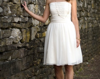 SAMPLE SALE 50% OFF - Anna - Short Wedding Dress - Eco Friendly Strapless Dress for Beach or Reception with Ruched Bodice and Natural Waist