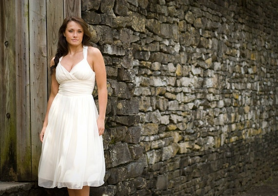 SAMPLE SALE - Sydney - Tea Length Eco Friendly Wedding Dress Surplice Bodice with Straps- Silk Chiffon over Ivory Organic Cotton