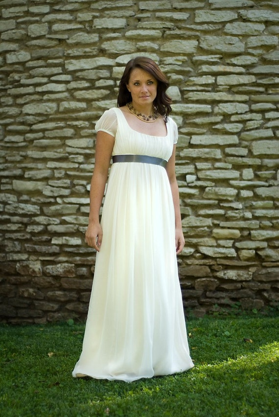 SAMPLE SALE - Jane - Wedding Dress - Eco Friendly Long Regency Gown with Cap Sleeves and Empire Waist