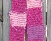 Even more PINK, hand knitted patchwork scarf