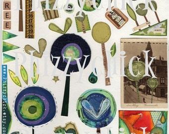 We Love Trees -  Digital Art Collage Sheet
