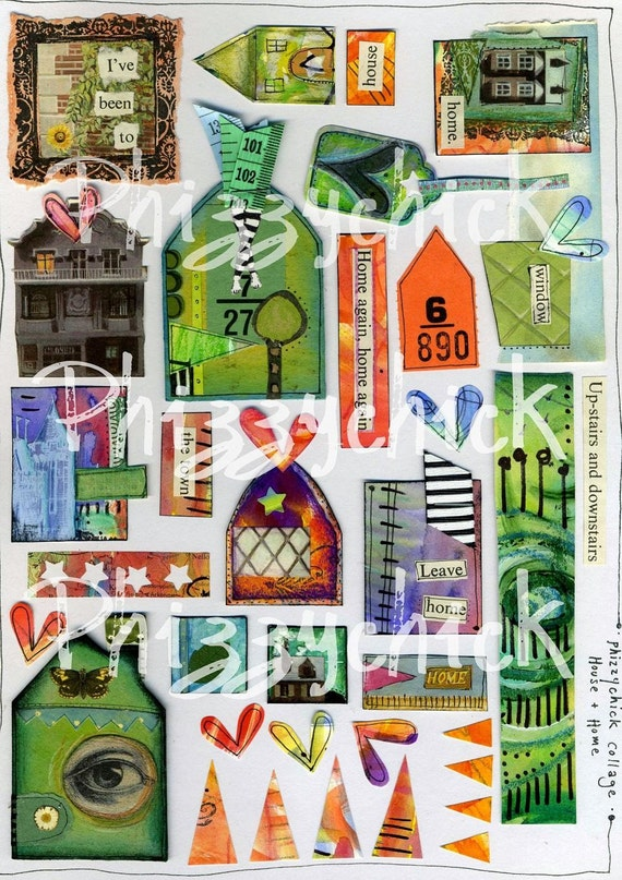 House and Home Digital Art Collage Sheet
