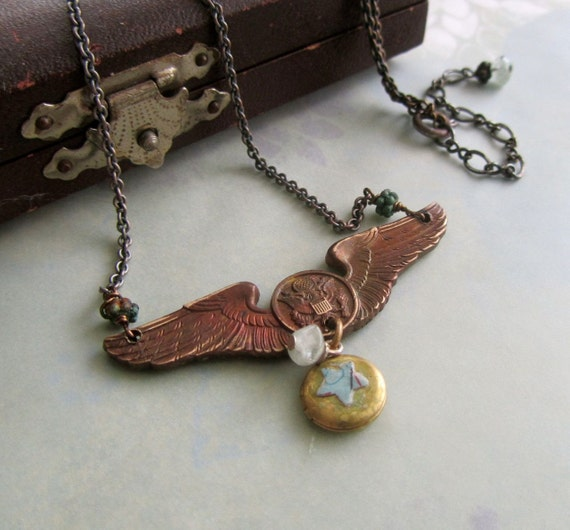 Winged Victory Steampunk locket necklace