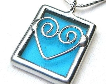 Love - blue stained glass pendant