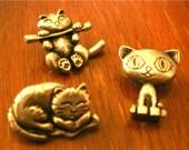 Three Pewter Cat Kitty Eyelets Embellishments