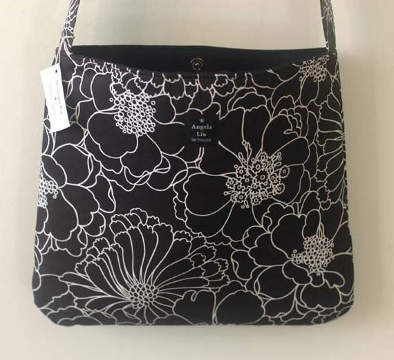 Black and White floral Messenger Bag
