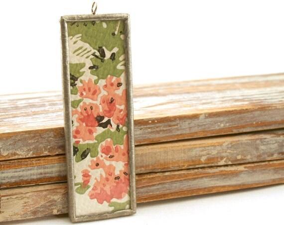 Vintage Wallflower reversible pendant necklace- Tall