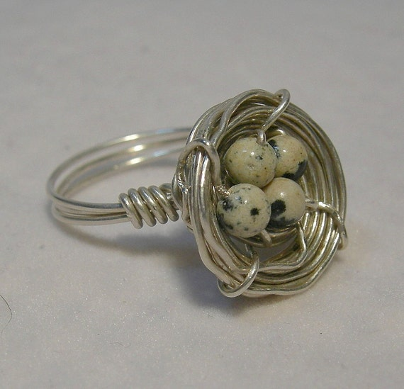 Quail Nest Sterling and Jasper Ring (Size 7 and a half)