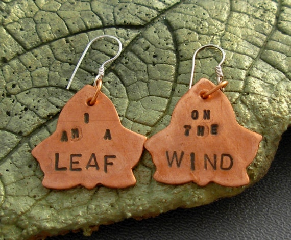 Leaf on the Wind Copper Stamped Earrings