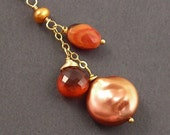 Warming Up Necklace, Mexican Fire Opal, Hessonite Garnet, Coin Pearl, 14K Gold Fill Necklace, erinelizabeth