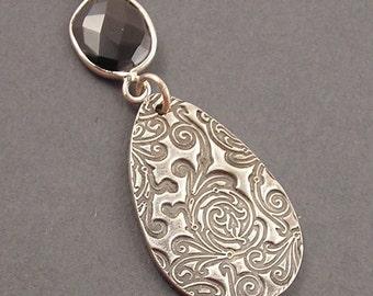 Damask Necklace, Black Spinel, Fine Silver, Sterling Silver Necklace, erinelizabeth